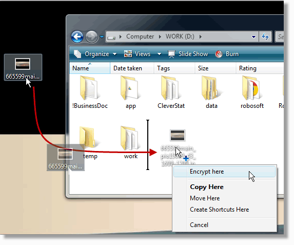 Drag and drop unencrypted file and encrypt in single action