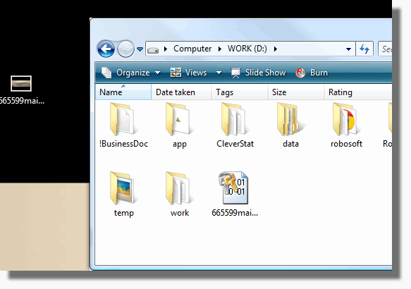 Encrypted file document in Windows Explorer window