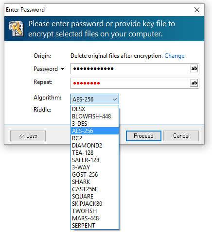 encrypt file with password and 256-bit AES