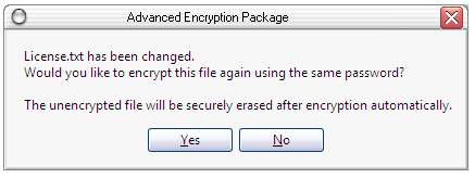 Would you like to reencrypt changed document