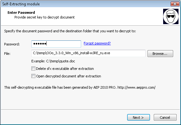 Self-decrypting document on Windows XP