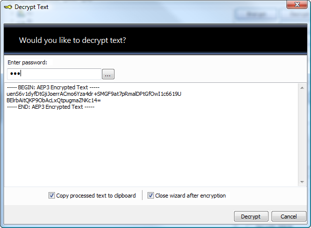 Decryption of the encrypted text