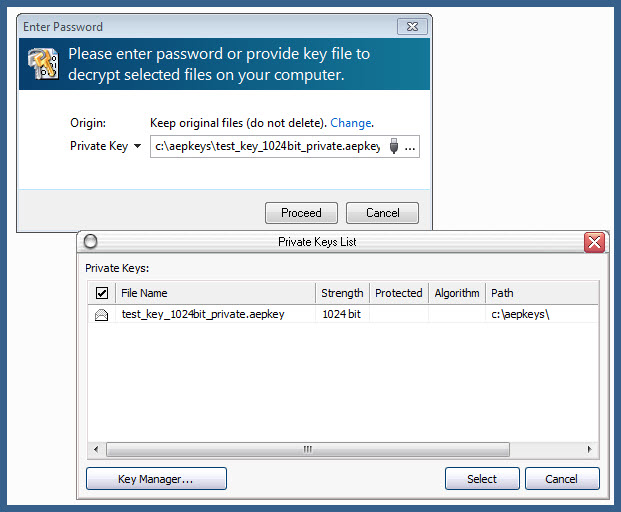 ability to select private key file