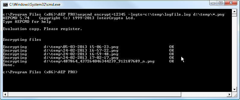 command line encryption tool to log file