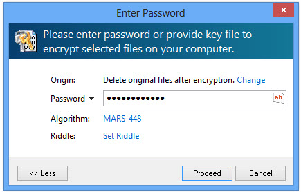 File encryption password window in expanded mode