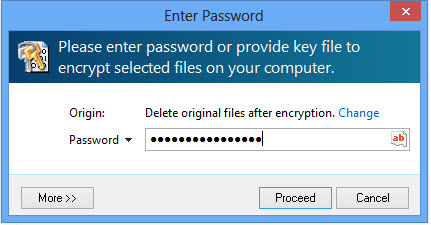 file encryption password window