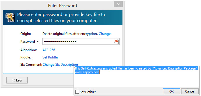 encrypt files to self decrypting files