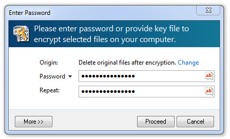 encryption password window