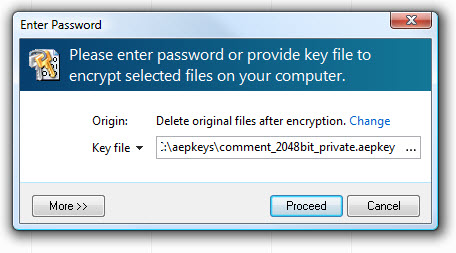 using key file for file decryption operation